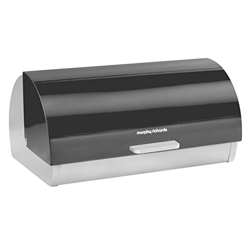 Morphy Richards Accents Roll Top Bread Bin, Stainless Steel, Translucent Black