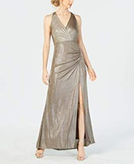 ADRIANNA PAPELL Womens Gray Slitted Metallic Jersey Gown V Neck Maxi Evening Dress US Size: 0