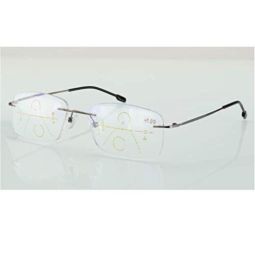 Rahmenlose Progressive Mehrfokus-Lesebrille mit Blaulicht-Filterlinse Fern und Nah Dua Verwenden Sie Brillen mit großer Sichtweite und Strahlenschutzbrille