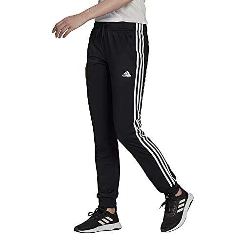 adidas Women's Standard Essentials Warm-Up Slim Tapered 3-Stripes Tracksuit Bottoms, Black, Large