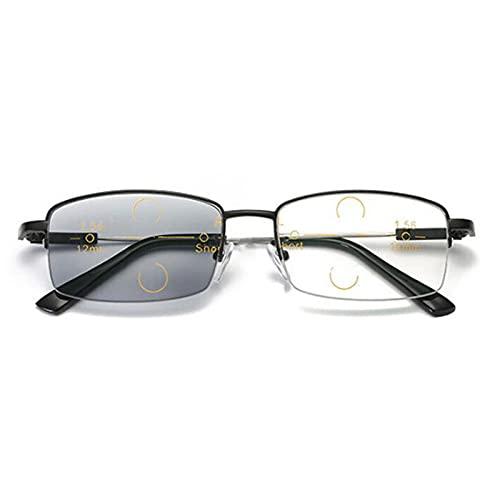 JUNZ +2.0 Hombres Multifocales Progresivas Gafas de Lectura,+3,5 Fotocromático Gafas de Sol al Aire Libre,Lentes Ligeros Rectangulares con Lector de Medio Marco,Negro,Oro