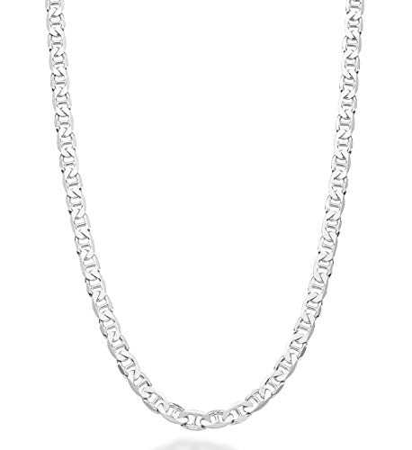 MiaBella Solid 925 Sterling Silver Italian 4mm Diamond-Cut Solid Flat Mariner Link Chain Necklace for Women Men, 16, 18, 20, 22, 24, 26, 30 Inch Made in Italy (22 Inches)