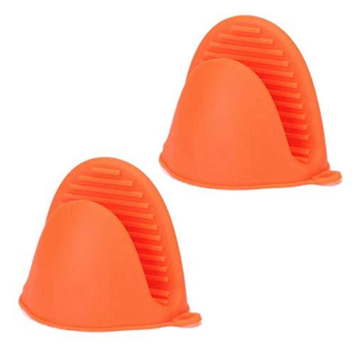 TIANOR 2 Pcs Guante de Cocina de Silicona Pinza para Cocina Manoplas para Horno de Silicona Resistente al Calor (Naranja)
