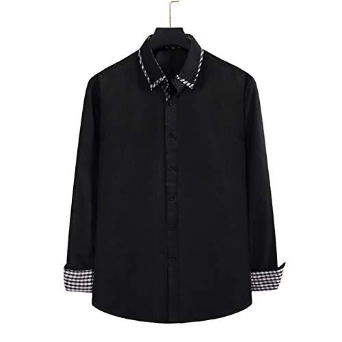 Camisa de Solapa para Hombre de Color sólido, Ligera y Fina, Transpirable, Ajuste Holgado, Costura, Camisa de Manga Larga Simple y versátil X-Large