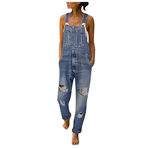 Binggong Tuta di Jeans Donna Tuta Salopette di Jeans Slim Tuta con Tasche Salopette Pantaloni Moda Overall Lunga Dungarees Tuta Denim Casual Pantaloni Bavaglino Jumpsuit