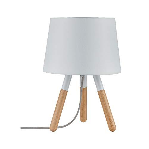 Paulmann 79646 Neordic Berit Tischleuchte max. 1x20W Tischlampe für E27 Lampen Nachttischlampe Weiß/Holz 230V Stoff/Holz/Metall ohne Leuchtmittel