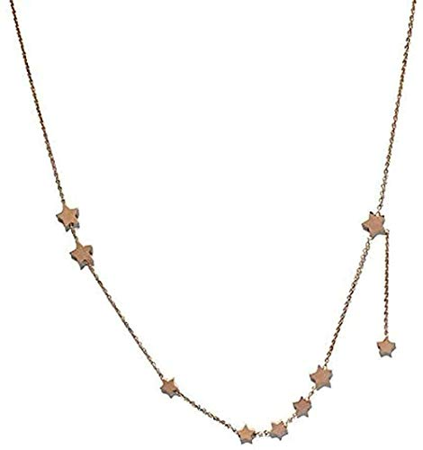 Yiffshunl Collar Moda Collar Temperamento Estrella Corta Titanio Acero Salvaje Llavero Cadena Accesorio fácil 42 + 5 cm Amor