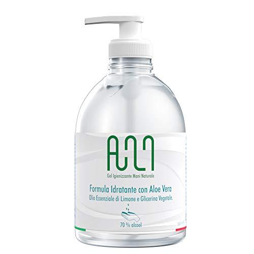 Gel Igienizzante Mani Alcolico 70% - Gel Disinfettante Mani NATURALE con Aloe, olio di Limone e Dispenser 500ml (1)