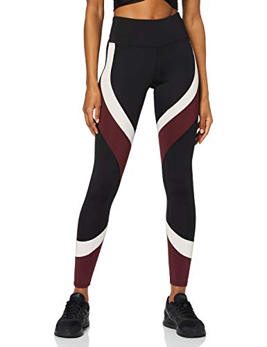 Amazon-Marke: AURIQUE Damen Colour Block-Sportleggings, Schwarz (Black/Port Royale/Blush), L