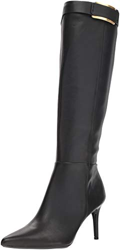 Calvin Klein Women's GLYDIA Knee High Boot, Black Leather, 6 M US