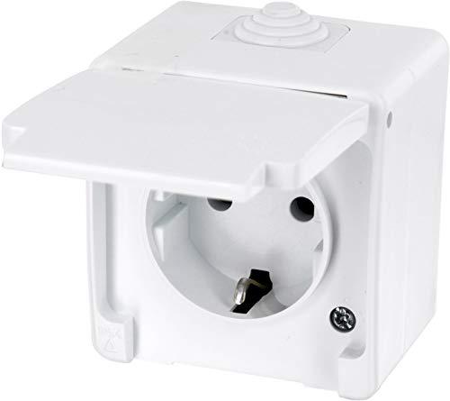 Aufputz Feuchtraum Steckdose mit Feder-Klappdeckel IP54 - All-in-One - Rahmen + Einsatz + Abdeckung (Serie G1 reinweiß)
