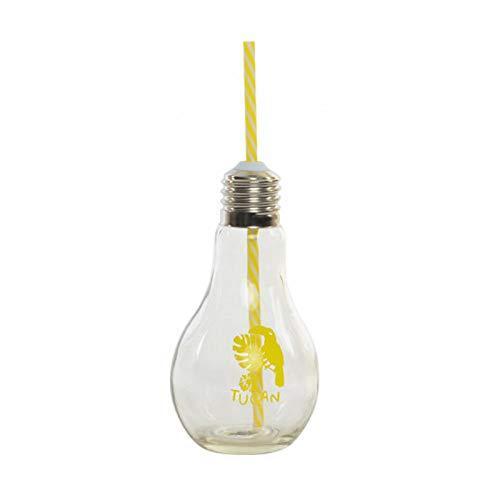 Vaso Portable de Cristal Transparente, con Pajita. Diseño Original con Forma de Bombilla Tropic/Summer.-HogaryMás- - Amarillo