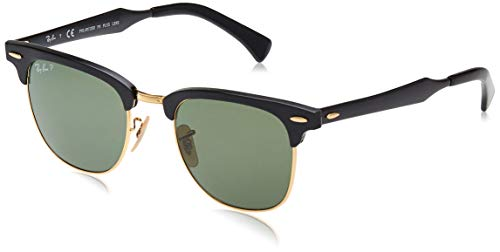 Ray-Ban Unisex Clubmaster Aluminum Sonnenbrille, Mehrfarbig (Gestell: Schwarz, Gläser: Polarized Grün Klassisch 136/N5), Medium (Herstellergröße: 51)