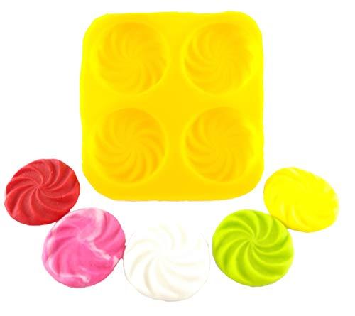 Flexible Molds - Swirl (4 cavity) - Cream Cheese Mint Molds - Candy Melts - Fondant - Caramels - Soft Candy Molds