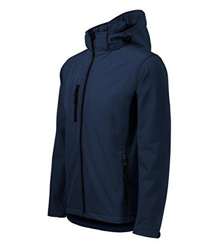 Chaqueta Softshell para Hombre con Capucha desmontable - Altamente resistente al agua (marina – Talla: XL)