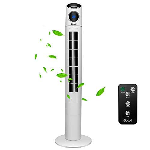 Gotoll Ventilador de Torre 110CM con Mando a Distancia,Ventilador de Pie Blanco 50W, Oscilación de 70°,Panel Táctil,Led Pantalla,3 Velocidades,3 Modos,15H Temporizador