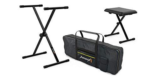 Audibax Onyx Pack | Funda para Teclado 61 Teclas Onyx Bag 61 | Soporte para Teclado Incluido | Banqueta Plegable Incluida | Uso Profesional | Gran Calidad de Fabricación | Todo en Uno | Fiabilidad