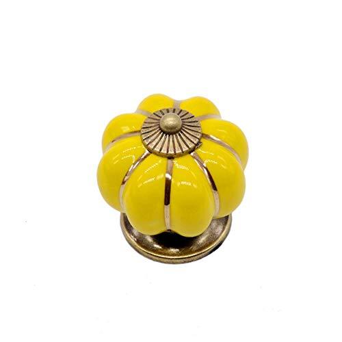 6 kleuren vintage meubels handvat deurknoppen pompoen keramische kast handgrepen meubels ladekast keuken pull handvat 40mm, geel