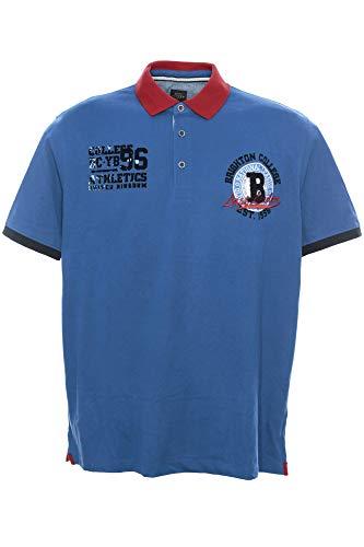 Kitaro Poloshirt Polo Shirt Hemd Herren Kurzarm Baumwolle Piqué Plusgröße, Herrengrößen:4XL, Farbe:blau
