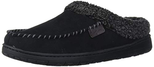 Dearfoams Men's Microfiber Suede Clog with Whipstitch Slipper, Black, Large