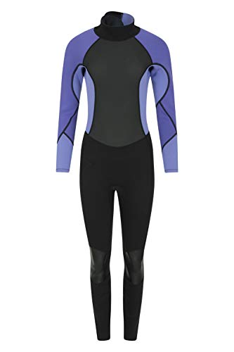 Mountain Warehouse Neopreno para Mujer - Cuerpo: 2.5mm, De una Sola Pieza, Cuello Ajustable y Cremallera de Cierre fácil, Mantiene el Calor - para Hacer Surf y Kayak Morado Oscuro 36-38