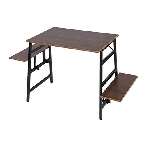 Escritorio de ordenador ajustable para estudio, portátil, mesa de caravana, para aula, casa, oficina, trabajo en casa y estudio (tamaño: largo; color: marrón)