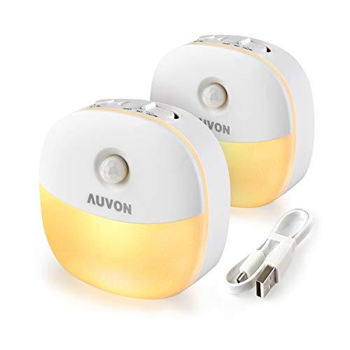AUVON LED Nachtlicht mit Bewegungssensor, USB Aufladbare Nachtlampe Schranklicht mit 3 Modi (Auto/ON/OFF), Warmes weißes Orientierungslicht für Kinderzimmer, Schlafzimme, Badezimmer, Gang [2 Stück]