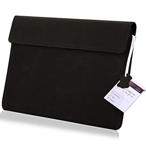 MOELECTRONIX - Custodia protettiva in vera pelle per tablet Samsung Galaxy Book Flex Book S Book ION 13.3 | Custodia in pelle Slim Tab con chiusura magnetica | XXL nero
