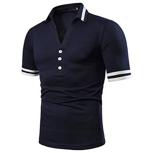 Herren Kurzschluss Floral Gedruckt Freizeit und Mode Polo Shirt(M,dunkelblau)