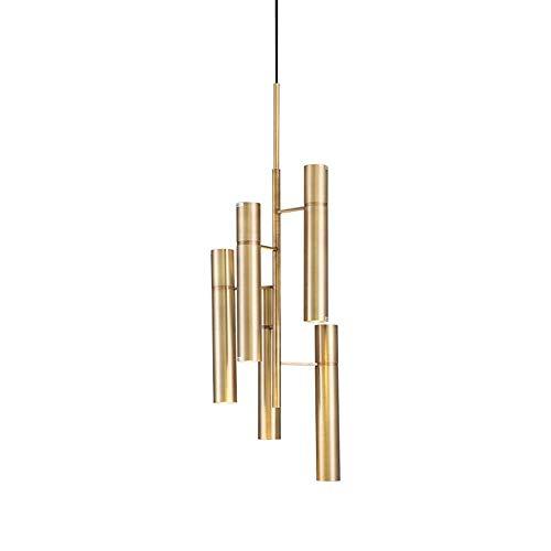 Kaper Go Lámparas de araña Luz De Lujo Moderna Lámpara De Araña De Bambú Dormitorio Sala De Estar Lámpara De Noche Diseñador Creativo Lámpara De Restaurante De Cobre Nórdico Estadounidense D305 * 540