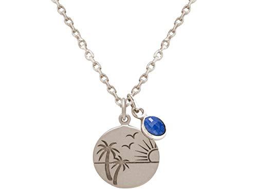 Gemshine Maritim Halskette Meer, Strand, Palme, Sonnenuntergang mit blauem Saphir Anhänger. 925 Silber, vergoldet, rose. Qualitätsvoller Schmuck Made in Spain, Metall Farbe:Silber