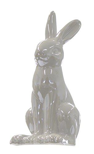 Keramik Deko-Figur Hase Langohr groß grau