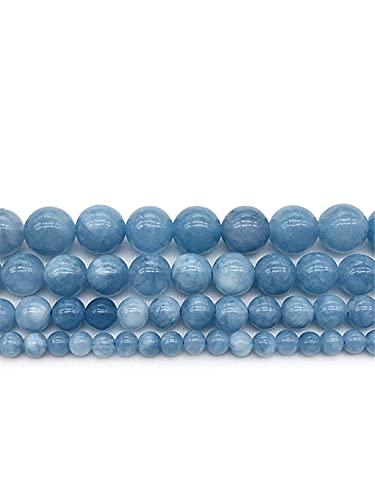 Moulding Aquamarine Piedra Redonda Espaciador Perlas Sueltas para Joyas Que Hacen Collar de Pulsera 15 Pulgadas 4/6/8/10/12 MM Blue Beads (Color : Blue, Size : 8mm Approx 46beads)