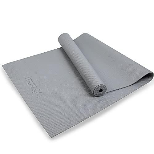 Myga - RY1117 - Esterilla De Yoga, De Nivel De Entrada - Ejercicio Básico Para El Hogar, Gimnasio, Estudio De Yoga - 173 x 61 cm 4 mm De Grosor - Gris
