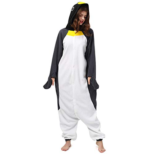 Katara- Pijamas Enteros Diferentes Animales y Tamaños, Adultos Unisex, Color pingüino Blanco-Gris, Talla 165-175cm (1744)