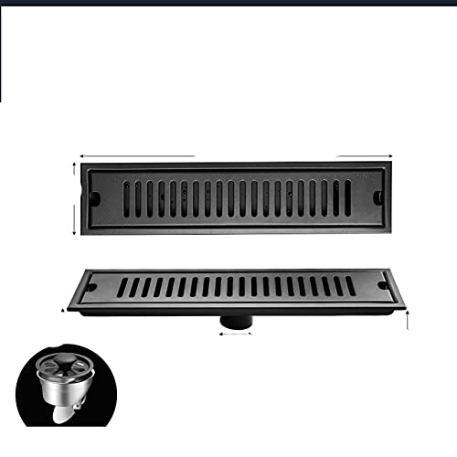 OBOYGANGNQE Baño Negro 304 Tira de Acero Inoxidable desagüe del Piso Cuarto de Ducha baño Gran Desplazamiento Engrosamiento rectángulo-40X10CM Medio