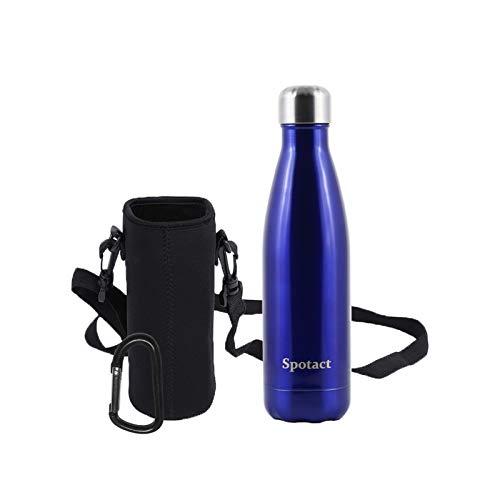 Spotact a Doppio Strato in Acciaio Inossidabile a Prova di Perdite Senza Sudore Senza BPA Bottiglia di Acqua Riutilizzabile Atossica Boccetta di Vuoto Boccale (Oceano Blu(Luce Luminosa), 350ML)
