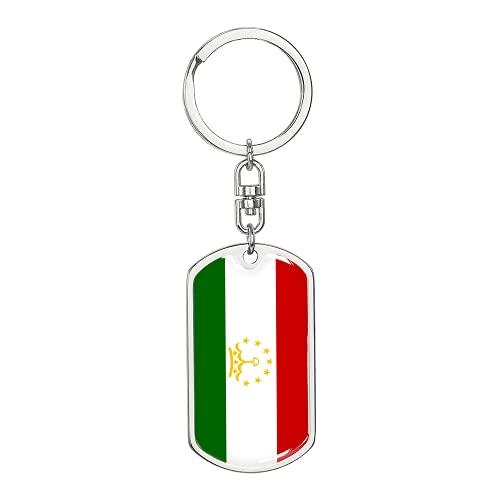 Llavero giratorio de la bandera de Tayikistán, etiqueta de perro de acero inoxidable o oro de 18 quilates