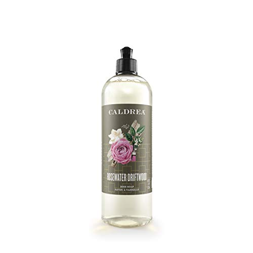 Caldrea Dish Soap, Biodegradable Dishwashing Liquid Made with Soap Bark and Aloe Vera, Rosewater Driftwood Scent, 16 oz (Packaging May Vary)