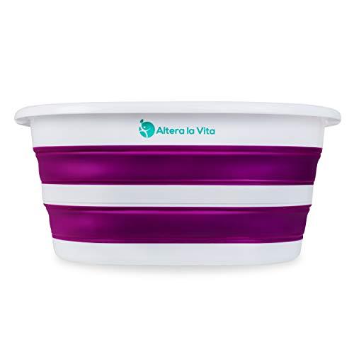 Altera la Vita Wäschekorb, Spülbecken, Waschschüssel, Wäschewanne, klappbar, faltbar für Camping und Haushalt, 27 Liter wasserdicht und platzsparend