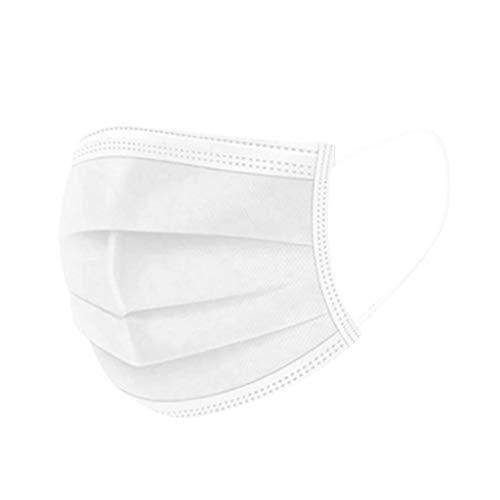 50 Stück Weiß Einmal-Mundschutz, Staubs-chutz Atmungsaktive Mundbedeckung, Erwachsene, Bandana Face-Mouth Cover Sommerschal (h)