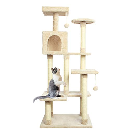 CUPETS Cat Activity Tree 54 Inches Cat Climber Cat Condo with Sisal-Covered Scratching Post Special...