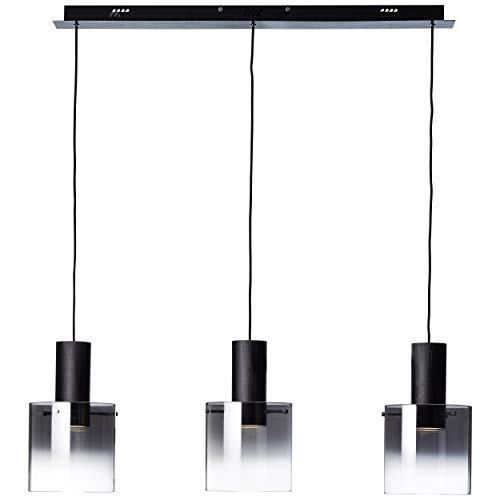 Lightbox LED Pendelleuchte 3-flammig, 10 Watt. 3-Stufendimmer, Metall/Glas, schwarz/rauchglas