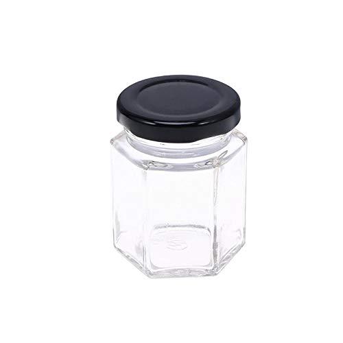 Botella de vidrio transparente hexagonal Botella de almacenamiento de miel Tarro vacío Tuerca Depósito de azúcar Tanque para almacenamiento de cocina en el hogar 45ML -WHITE_5 * 5 * 5_cm