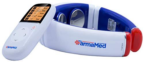 FARMAMED Elettrostimolatore collo, Terapia con calore per dolori muscolari, Elettrostimolatore cervicale multifunzione con tele