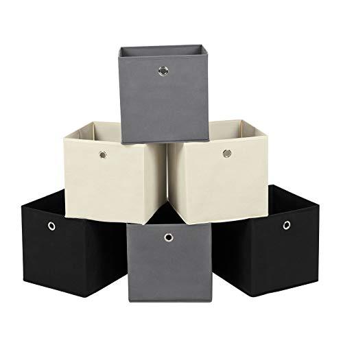 SONGMICS Aufbewahrungsbox, 6er Set, Faltbare Stoffbox, Faltbox aus Vliesstoff, Würfel, Aufbewahrungskorb, Organizer für Spielzeug, Kleidung, 2 grau, 2 schwarz, 2 beige RFB06GHM