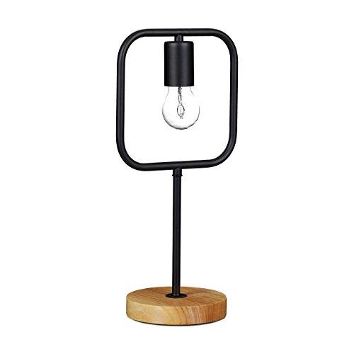 Relaxdays Tischleuchte Outlines Design KONTUR, quadratisch, Metall, Holzfuß, Modern, HxBxT: 41 x 20 x 14,5 cm, Schwarz