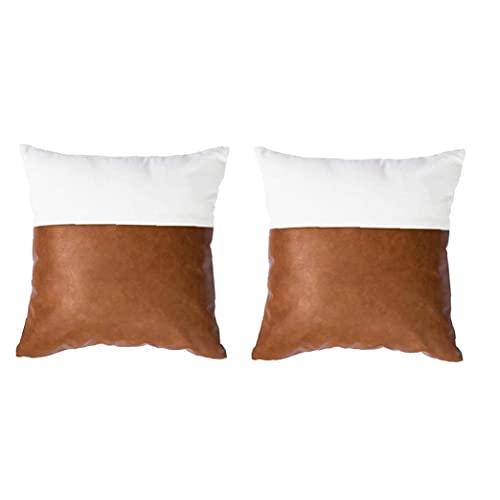 Biancheria di cotone e pelle PU Cuciture cuoio federa quadrato federa modello letto divano letto con chiusura con cerniera invisibile letto decorativo decorativo federa 45x45cm 2 pz