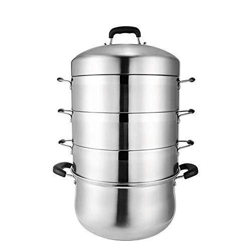 Großer Dampfgarer 28CM 3 Tier Edelstahl Induktionskocher Dampfgarer mit Glasdeckel Kochgeschirr Topf & Pfanne Set-30CM