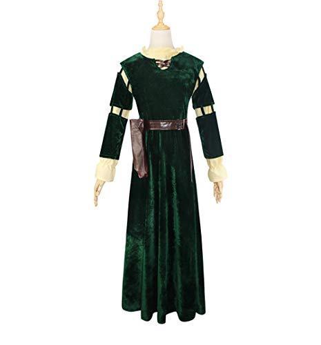Xwenx Traje de cosplay para mujer, vestido de Halloween, cosplay, disfraz de anime, disfraz de Halloween, falda larga, verde, M